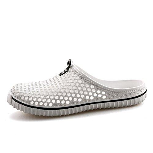SAGUARO Mesh Garden Clog Shoes Sandals Indoor/Outdoor Slipper Unisex Women Men White KKk7HtoVDV