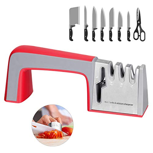 Knife Sharpener 4-in-1 Kitchen Knife and Scissor Sharpener 3 Stage Diamond Handheld Sharpening Tools-Manual system Help Repair,Restore and Polish Blades,Cut-Resistant Finger Guard included,Easy to Use