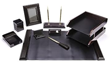 Charming Majestic Goods Office Supply Synthetic Leather Desk Set, Black 9 Piece  (W513)