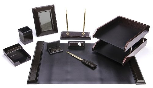 MAJESTIC Goods Office Supply Synthetic Leather Desk Set, Black, 9-Piece (W513)