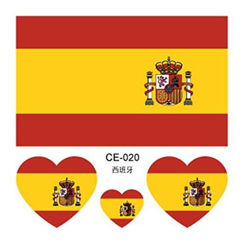 (Botrong 10Pcs Tattoos Waterproof Face Body Stickers 32 Countries Flag Stickers (Spain) )