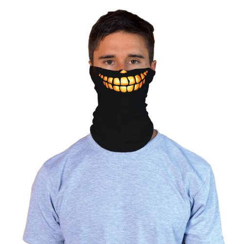 [Wicked Pumpkin Adult Halloween Costume Face Gaiter] (Last Minute Halloween Costumes Ideas For Adults)