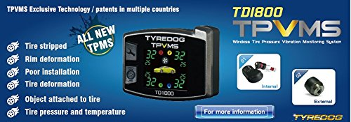 Tyredog Wireless Tyre Pressure Monitoring System TD1800 4 External Sensors PSI//BAR Car TPMS Color LCD TPMS TD1800AX TD1800-AX