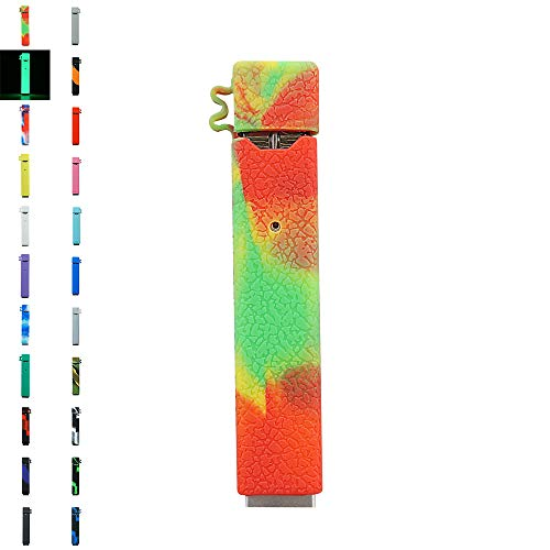 (DSC-Mart Texture Case for JUUL, Anti-Slip Silicone Skin Cover Sleeve Wrap Gel Fits JUUL Pen (Red-Yellow-Green))