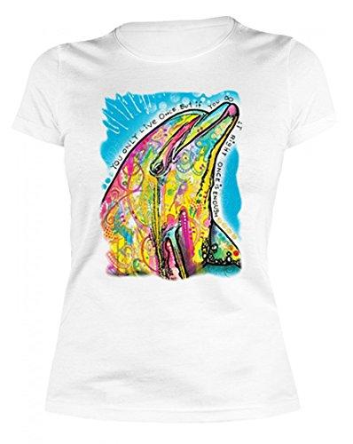 Motiv Damen TShirt Delphin witziges bedrucktes Motivshirt als kreative  Geschenk Idee cooles farbig bunt Delfin Tier