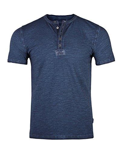 ZIMEGO Mens Short Sleeve Crew Neck Oil Wash Vintage Button Henley T-Shirt