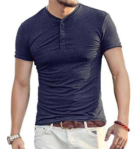 Aiyino Mens Casual Slim Fit Short Sleeve Henley T-Shirts Cotton Shirts US M ()
