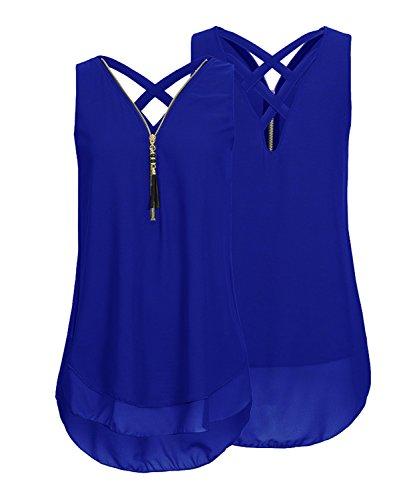 Devant SHOW Dbardeurs Bleu Soie Fermeture Dos de vider DEMO en V T Chemise Shirt Mousseline Glissire Chemisier col Femmes Sans Manches OwxYxTd