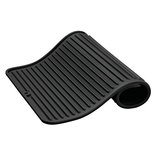 mDesign Premium Quality Pet Food and Water Bowl Feeding Mat for Cats or Dogs - Waterproof Non-Slip Durable Silicone Placemat - Food Safe, Non-Toxic - Large, Black by mDesign (Image #4)