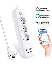 Wifi Smart Steckdosenleiste Intelligente Steckdose Mehrfachsteckdose 3 AC 4 USB Kompatibel mit Alexa Google Home IFTTT mit App Fernbedienung für iOS Android Wifi 2,4 GHz