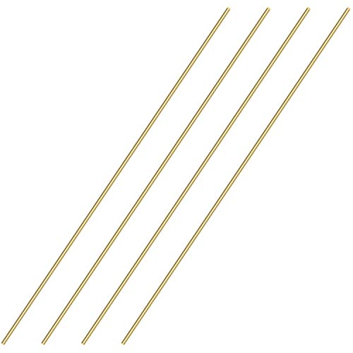 Sutemribor Brass Solid Round Rod Lathe Bar Stock, 1/8 inch in Diameter 14 inch in Length (4 PCS)