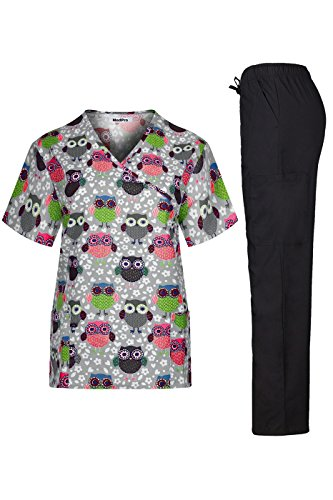 MedPro Women's Medical Scrub Set Wrap Top and Cargo Pants Grey Black L