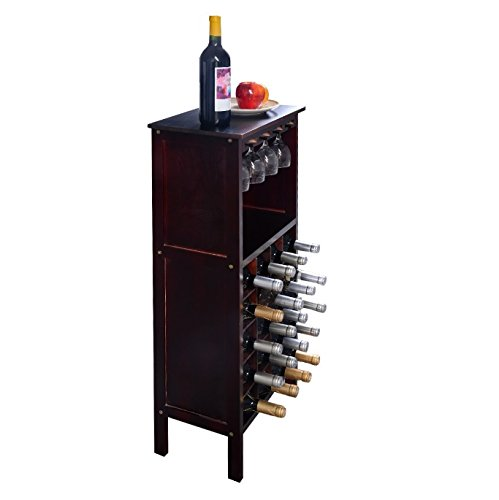 Liquor Storage Cabinet with Glassware Rack – Wood Wine Unit is Best for Your Favorite Bottles of Wine, Liquors & Drinking Accessories - Bundle w Floor Protector Pads