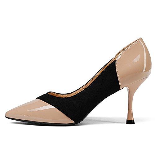 De Con Imposición Solo Beige Los Punta Primavera Zapatos De Otoño De Zapatos GAOLIM Zapatos La Multa La Alto Tacón H4EXW4xqFw