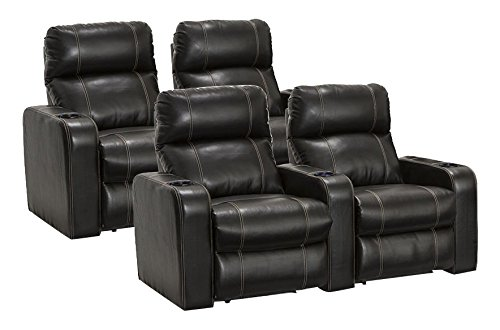 SEATCRAFT Dynasty Home Theater Seating Bonded Leather Power Recline with Lighted Cup Holders, Wall Hugger, and Contrast Stitching (Two Rows of 2, Black)