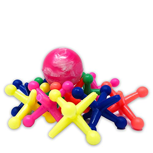 JARU TOY COMPANY Jacks Game – Rainbow Big Jax Hot Neon Colors |10 Fun Jacks 1 Rubber Ball | Easy To Toss And Pick Up | Challenging And Fun Game For Kids (single) - Jax Single