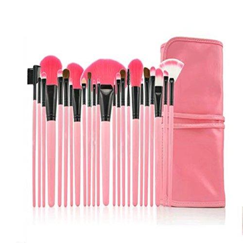 Garrelett Makeup Brush Set, 24 Pcs of Set Professional Foundation Concealer Eyeshadow Eyebrow Blush Lip Mascara Cosmetic Brushes Tools with Soft Case - Mash White Mall