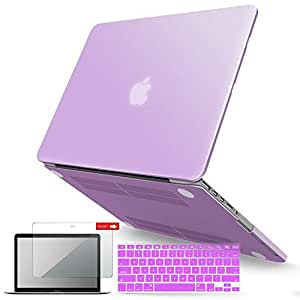 iBenzer Basic Soft-Touch Series Plastic Hard Case, Keyboard Cover, Screen Protector for Apple Previous Generation MacBook Pro 13-inch 13 with Retina Display A1425/1502, Purple