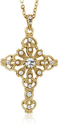 Symbols of Faith 14k Gold-Dipped Crystal Cross Pendant Necklace, 16