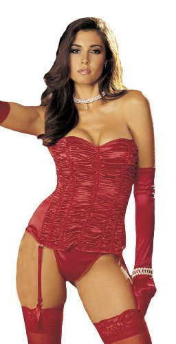 Shirley Of Hollywood Women's Pebble Charmeuse Strapless Corset, Red, (Shirley Of Hollywood Lace Up Corset)