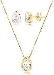 Conjunto de colar e brincos c/gota de zircônia folheado em ouro