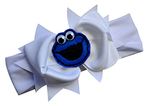 Little Monster Baby Bow Headband Funny Girl Designs (1.5 inch Cotton (3 Months to 5 Yrs), Blue (Cookie Monster Headband)