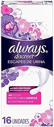 Protetor Diário Always Discreet Escapes de Urina - 16 unidades