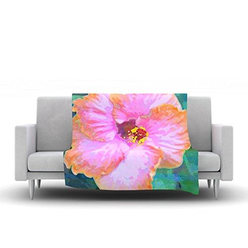 60 by 50 Kess InHouse Sylvia Cook Hibiscus Green Pink Fleece Throw Blanket