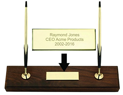 Dayspring Pens | Engraved/Personalized Cross Double Desk Set, Walnut base with Gold Ballpoint Pen and Pencil. Custom Engraved Fast. -