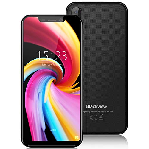 """Cell Phones Unlocked Blackview A30 16GB ROM 3G Mobile Phones 5.5""""(19: 9) Full Screen 5+8MP Dual Cameras 2GB RAM 2500mAh Battery SIM Free Smartphone Dual SIM for AT&T/T-Mobile Face Recognition (Black)"""
