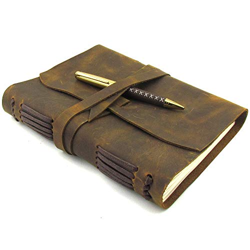 Leather Journal Writing Notebook A5 Vintage Handmade Leather Bound Notepads for Men for Women Antique Leather Travel Diary 8