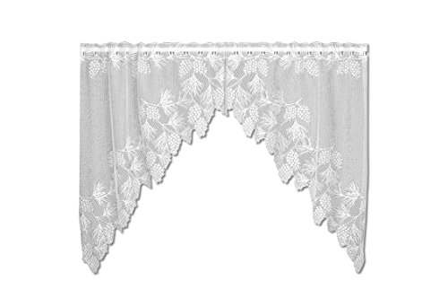 Heritage Lace Woodland 68-Inch Wide by 40-Inch Drop Swag Pair, White (Woodland Lace Curtain)