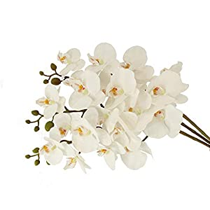 """Unique Forest Arts 37.5"""" Phalaenopsis Orchid Artificial Flower,Simulation Butterfly Orchid Flowers for Home Office Wedding Decoration Real Touch Material (Set of 3) 58"""
