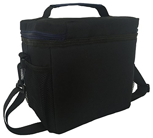 """Insulated Lunch Bag: InsigniaX Adult Lunch Box For Work, Men, Women With Adjustable Strap, Front Pocket and Side Pocket [Unisex Lunch Bags] H: 8.4"""" x W: 6.3"""" x L:9.1"""""""