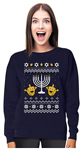 Tstars Funny Jewish Holidays Ugly Christmas Hanukkah Women Sweatshirt X-Large Navy