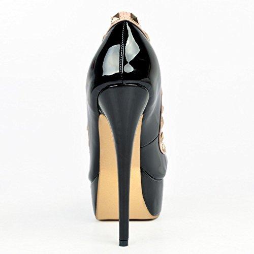 garlos Piel Negro de Sandalias Vestir de para Mujer Uqpr8pSnwx
