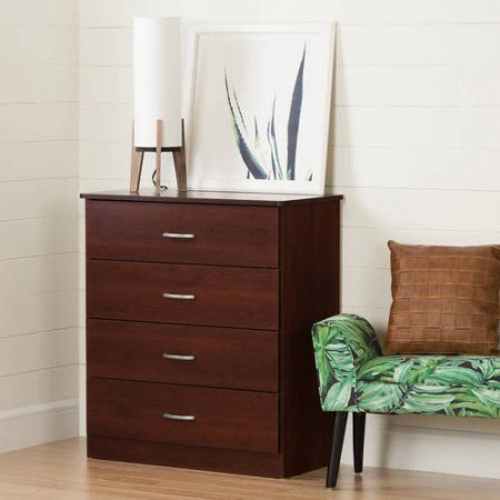 4 Drawer Storage Chest Dresser, Drawer Slides, Cabinet, Metal Handles, Sturdy Chest Draw, Extra Space, Contemporary Style, Living Room, Bedroom, Furniture, Home Office, Multiple Colors, (Royal Cherry)