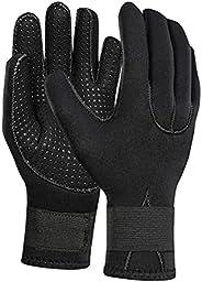 Rubber Diving Gloves for Men Women 5mm Water Sports Five Finger Wetsuit Gloves Anti-Slip Snorkeling Surfing Gl