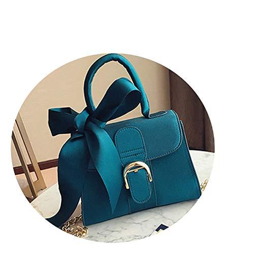 2018 - Bolso bandolera de lujo para mujer, diseño de lazo, color negro, Azul, Talla unica