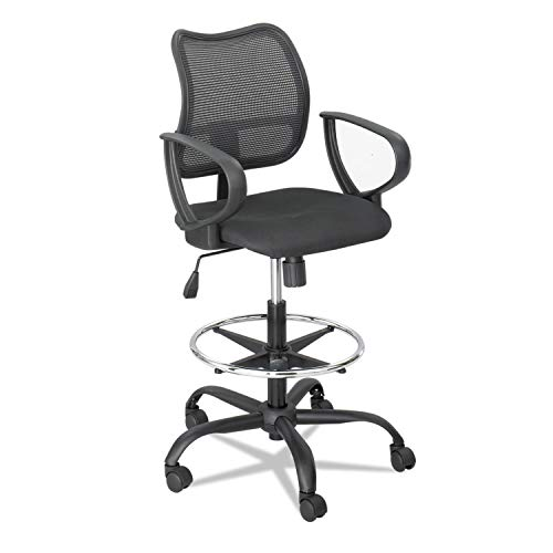 (Safco 3395BL Vue Series Mesh Extended Height Chair Acrylic Fabric Seat Black)