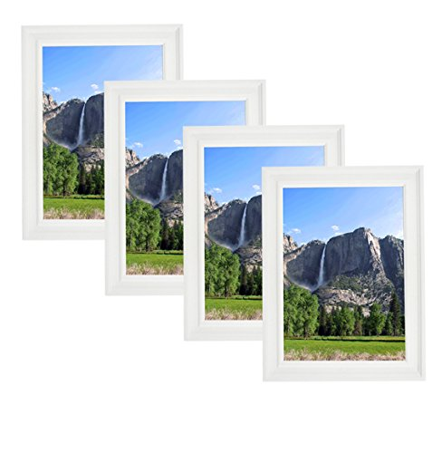 Classic Wooden Picture Frames 5x7 (4 pc) Display with Photo Glass Front, Easel Back, Hanging Clip | 4 PIECE SET (White, 5x7) ()