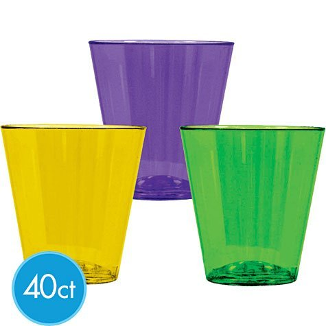Mardi Gras Party Shot Glass - Mardi Gras Plastic 2oz Shot Glasses 40ct