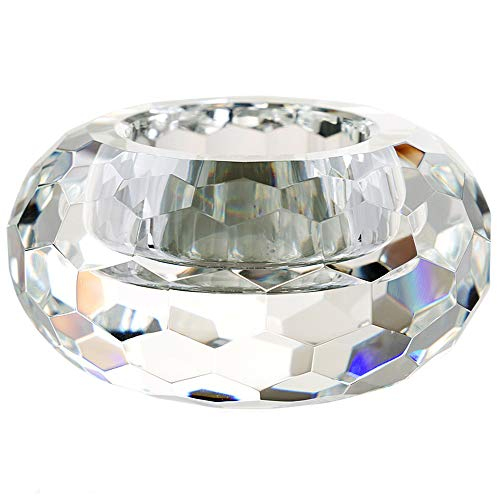 DONOUCLS Crystal Tealight Holders Hand Cut Crystal Candle Holders Banquet Decorations for Dinner 3.2