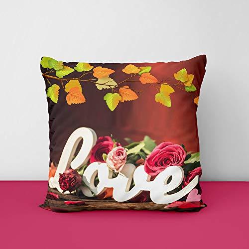 41ysa92Gl3L Love Rose Square Design Printed Cushion Cover