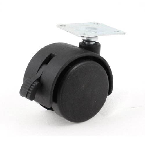 Uxcell a13071600ux0630 33mm Mount Plate 38mm Plastic Dual Wheel Rotatable Caster with Brake Lock (Wheel Plate Mount)