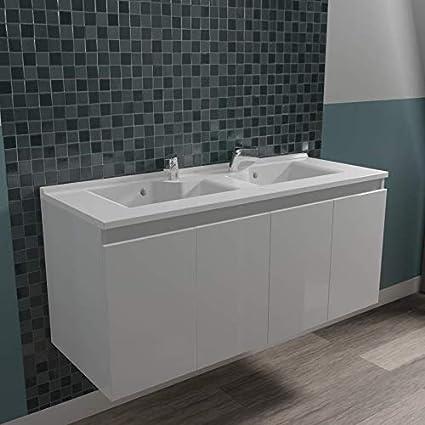 Caisson double vasque /ÉPURE 120 Blanc