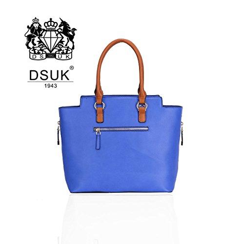 DSUK , Damen Tote-Tasche blau Blau/Hellbraun