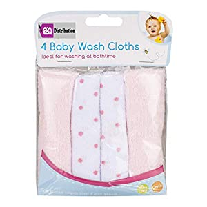 Baby Wash Cloths 4 Pack Super Soft Absorbent Baby Bath Wash Cloths for Face & Body-Baby Flannels and Bathing Accessories…