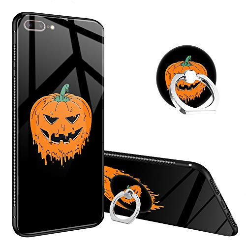 iPhone 8 Case,Halloween Pumpkin iPhone 7 Tempered Glass Back Cases with Finger Ring Stand for Girl/Boys, 360°Rotatable Ring Holder Kickstand Fashoin Soft TPU Case for iPhone 7/8 -