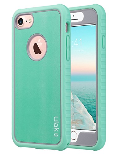 ULAK iPhone 8 & 7 Case, Shock-Absorbing Flexible Durability TPU Bumper Case, Durable Anti-Slip, Front and Back Hard PC Defensive Protection Cover for Apple iPhone 7 4.7, Mint Green/Grey